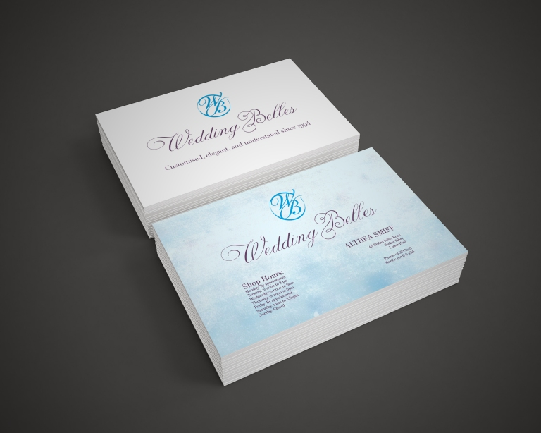 business cards wedding belles stack